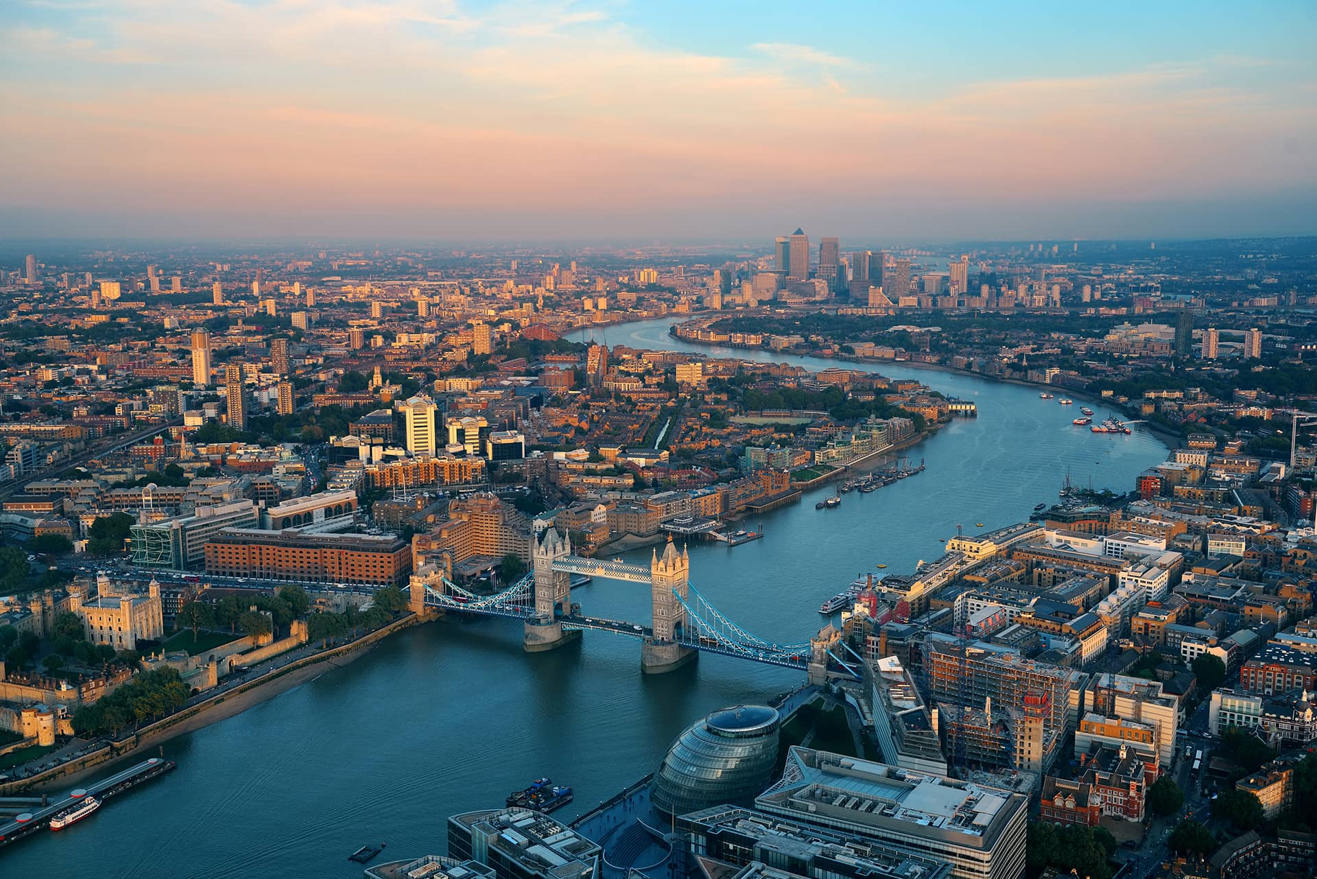 Tower Bridge, London - Aerial View