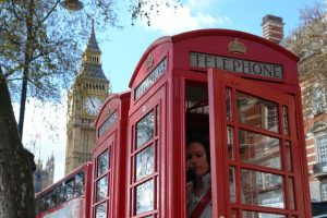 a girl calling from a London phone box