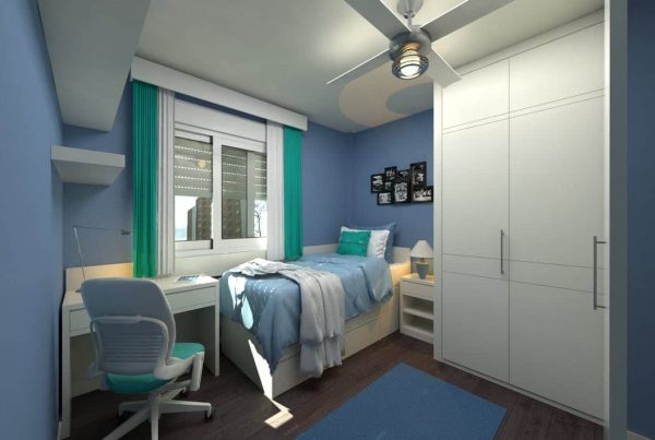 Student bedroom with modern decor