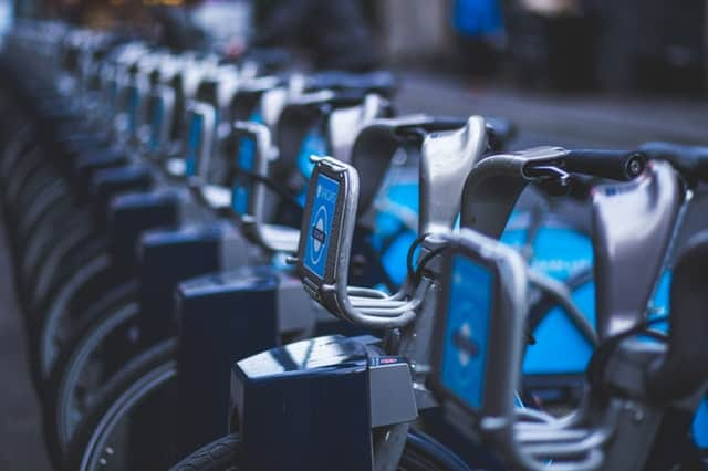 boris bikes in a row in london