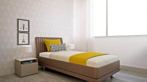single bed in small room