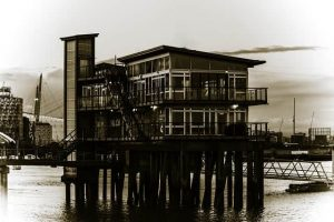 pier and building on the river