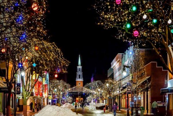 winter road lights london night