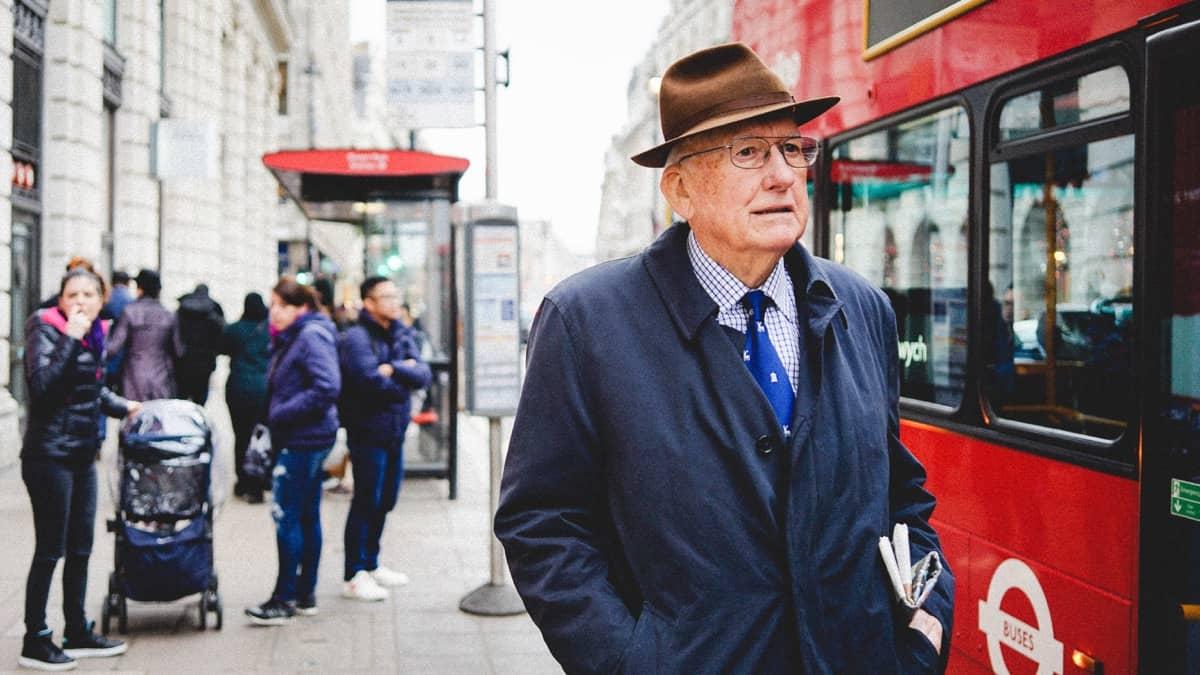 London Bus Man Hat Coat