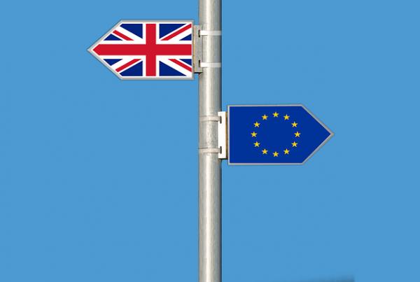 european union flag and uk flag
